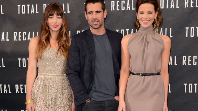 LOS ANGELES, CA - JULY 28: (L-R) Actors Jessica Biel, Colin Farrell, and Kate Beckinsale attend the photo call