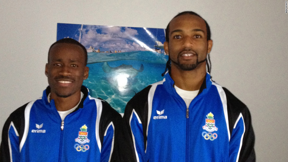 Ricardo Blas Jr is not the only athlete competing in London hoping to end their nation's drought of medals. Kemar Hyman (left) and Ronald Forbes (right) are representitives of the Cayman Island Olympic team and will be competing in the 100m and 110m respectively.