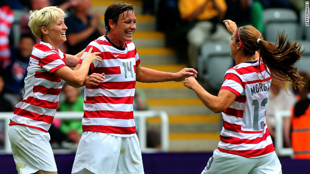 Abby Wambach, center, celebrates her goal with U.S. teammates Megan Rapinoe, left, and Alex Morgan in Newcastle.