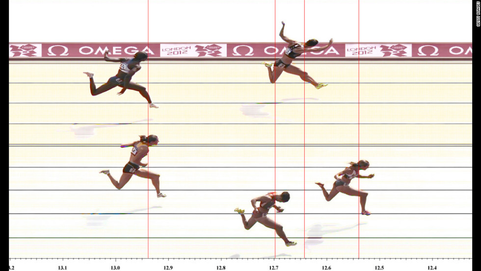 Jessica Ennis of Great Britain wins the women's heptathlon 100-meter hurdles heat.