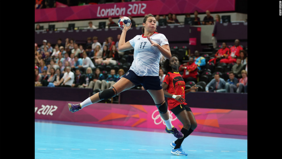 Ewa Palies of Great Britain goes up for a shot during the women's handball preliminaries match against Angola.
