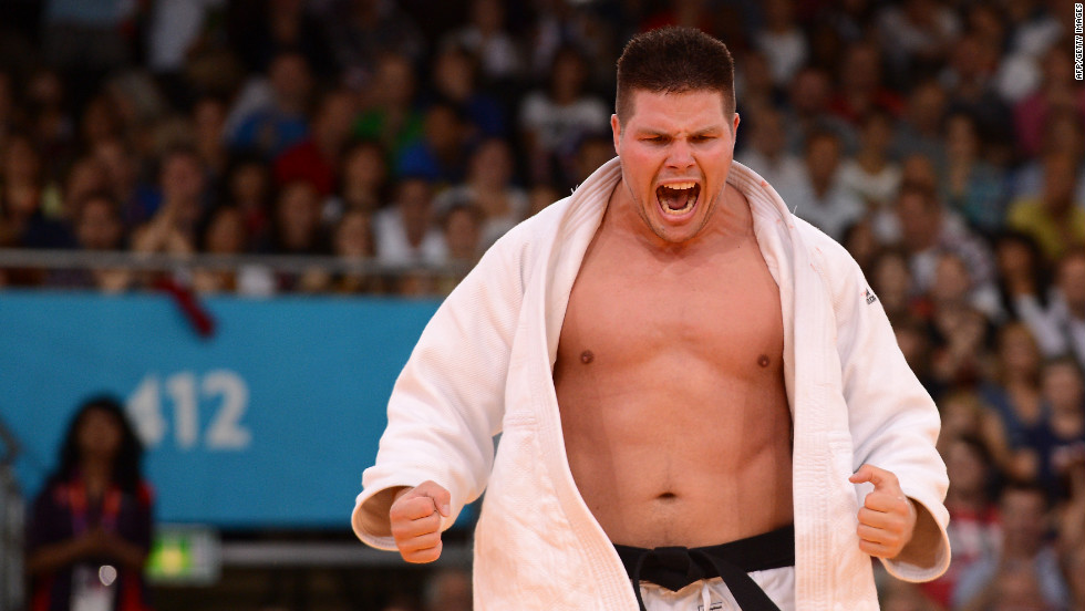 Hungary's Barna Bor reacts during an over 100-kilogram judo contest match.