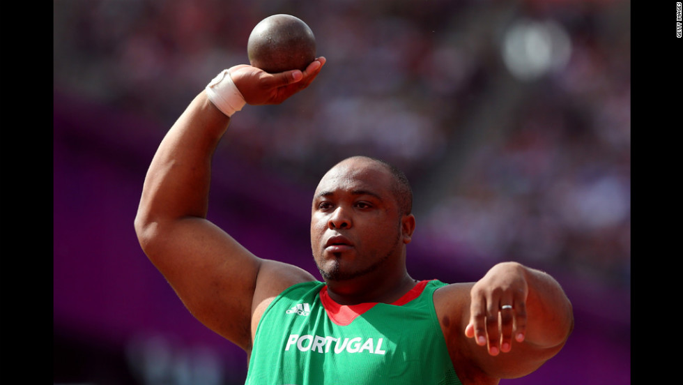 Marco Fortes of Portugal competes in the men's shot put qualification.