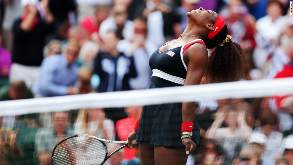 Serena Williams reacts after defeating Maria Sharapova of Russia to win the gold medal in women's singles tennis in London, England, on Saturday, August 4.