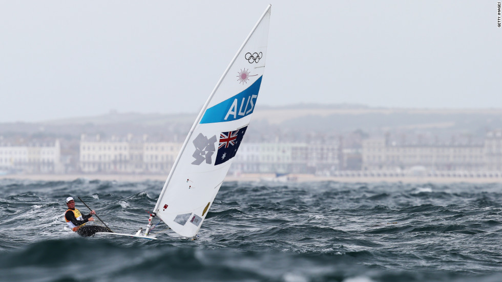 Tom Slingsby of Australia competes in men's laser sailing in Weymouth, England.