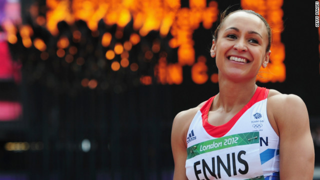 Jessica Ennis of Great Britain smiles during the Women's Heptathlon Javelin Throw on Day 8 of the London 2012 Olympic Games at Olympic Stadium on August 4, 2012 in London, England