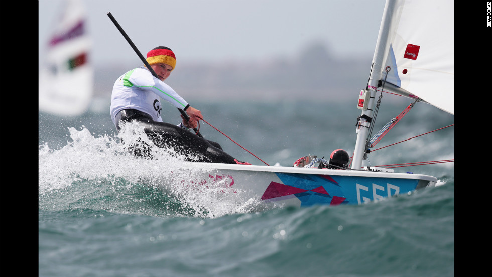 Franziska Goltz of Germany competes in laser radial women's sailing in Weymouth, England.