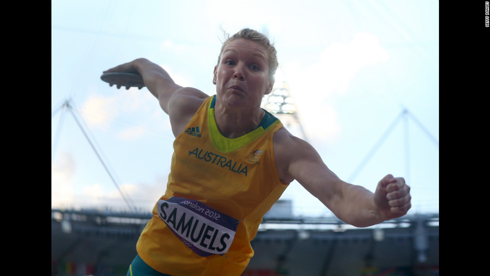 Dani Samuels of Australia competes in the women's discus throw final.
