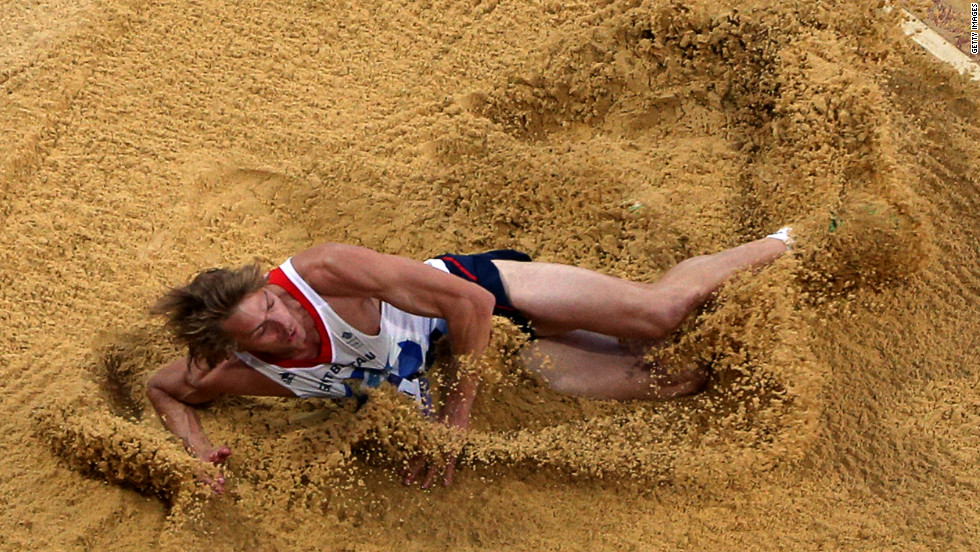 Christopher Tomlinson of Great Britain competes in the men's long jump final.