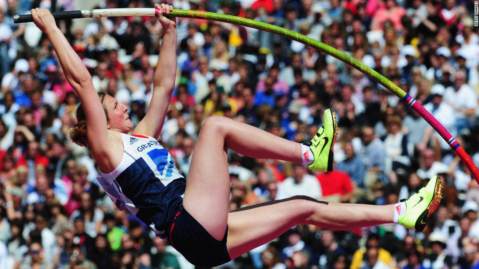 Holly Bleasdale of Great Britain makes a vault in the Women's Pole Vault qualification at Olympic Stadium.