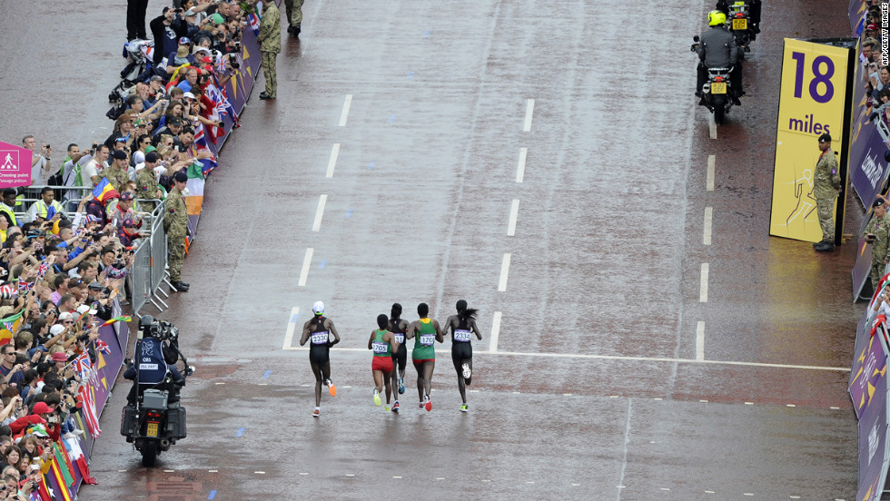 Left to right: Kenya's Priscah Jeptoo, Ethiopia's Mare Dibaba, Kenya's Mary Jepkosgei Keitany, Ethiopia's Tiki Gelana and Kenya's Edna Ngeringwony Kiplagat lead the pack in the women's marathon. Gelana would go on to win the gold medal.
