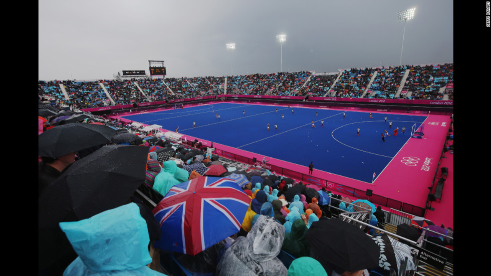 Pakistan and South Africa square off in a men's field hockey match at Riverbank Arena Hockey Centre in London.