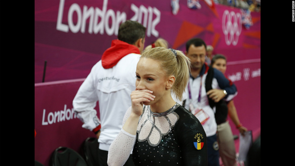 Romania's Sandra Raluca Izbasa reacts after winning gold in the women's vault final of the artistic gymnastics event.