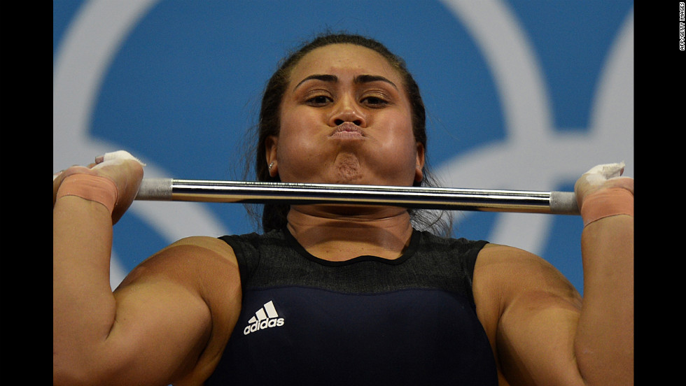 Luisa Peters of the Cook Islands lifts during the women's 75-plus kilogram group A weightlifting event.