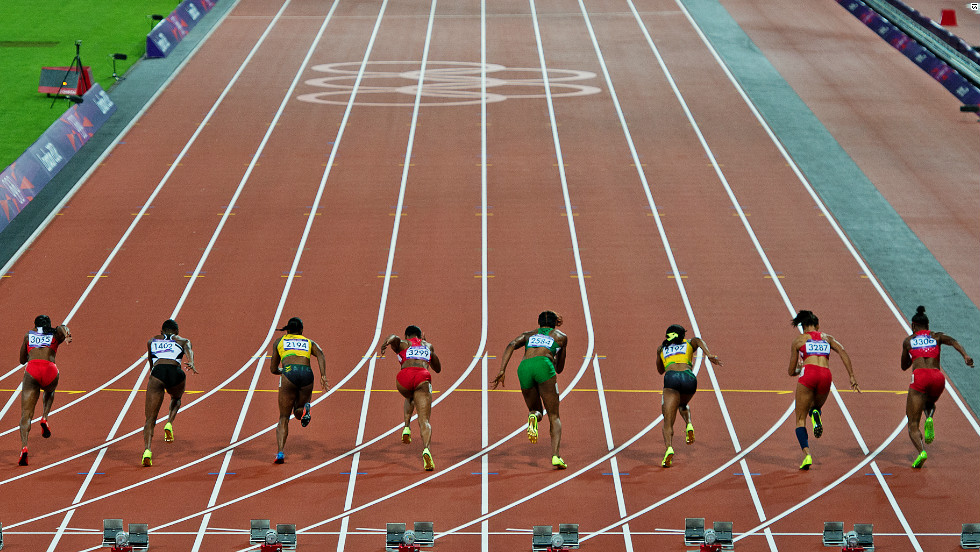 The race was billed as a showdown between Jamaica's reigning Olympic champion Shelley-Ann Fraser-Pryce (third from the right) and Team USA's Carmelita Jeter (fifth from the right).