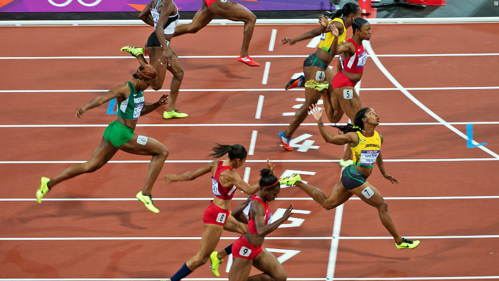 It was Fraser-Pryce who crossed the line first, registering a time of 10.75 seconds to retain her title. Jeter was second, ahead of Fraser-Pryce's compatriot Veronica Campbell-Brown.