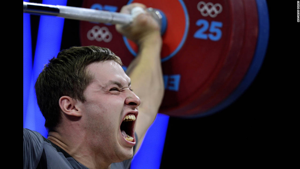 Ukraine's Sergiy Tagirov makes a successful lift during the men's 105-kilogram Group B weightlifting event.