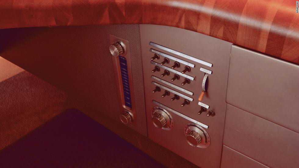 The lights, curtains, radio and temperature are controlled from this built-in console.
