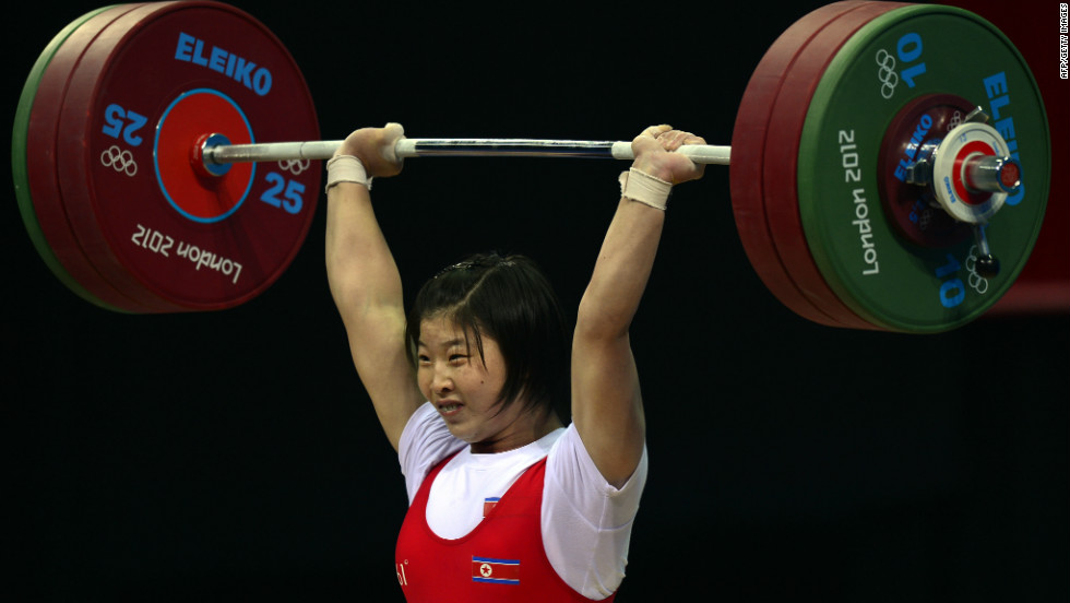 North Korea's Rim Jong Sim competes for the gold medal during the women's 69kg group A weightlifting event on August 1.