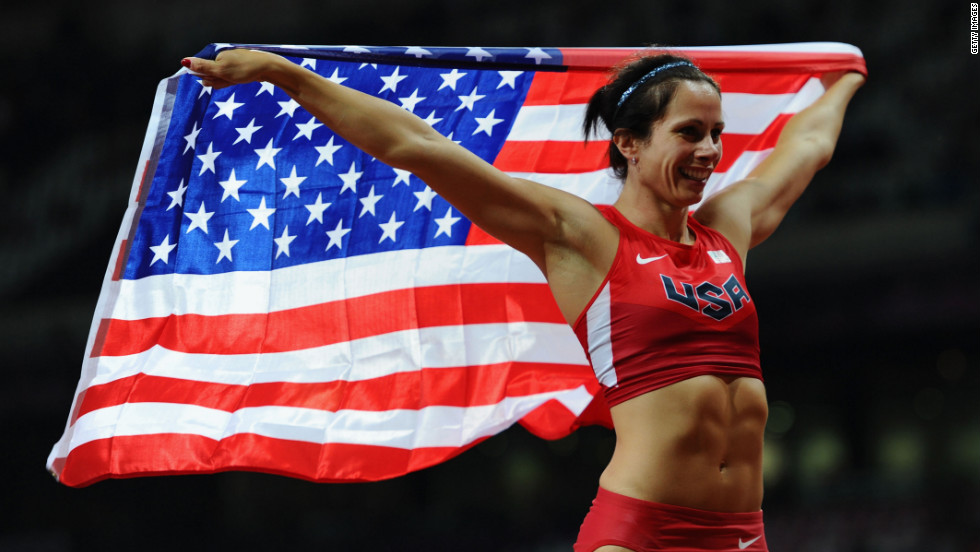 Jennifer Suhr of the United States celebrates winning the gold medal in the women's pole vault final on Monday.