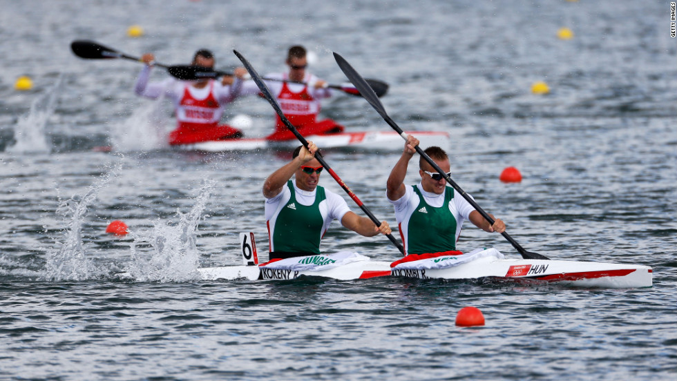 Roland Kokeny, left, and Rudolf Dombi of Hungary compete in the men's kayak double (K2) 1,000-meter canoe sprint heats at Eton Dorney.