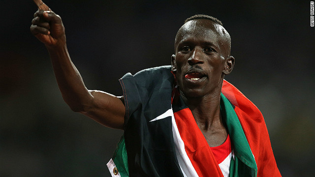 Kenya's Ezekiel Kemboi after winning gold in the men's 3000 meter steeplechase at London 2012.
