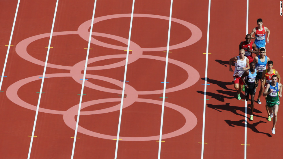 Athletes race in the men's 800-meter heat Monday.