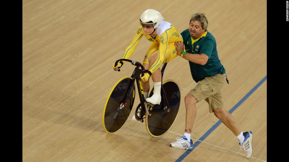 Training wheels removed, Australia's Annette Edmondson rides a bike for the first time.