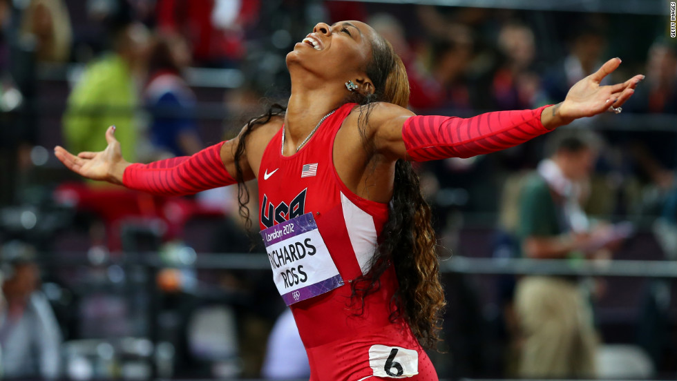 Sanya Richards-Ross wins the gold in the women's 400-meter final at the London 2012 Olympics on Sunday, August 5. Richards-Ross earned the 28th gold medal for the United States.