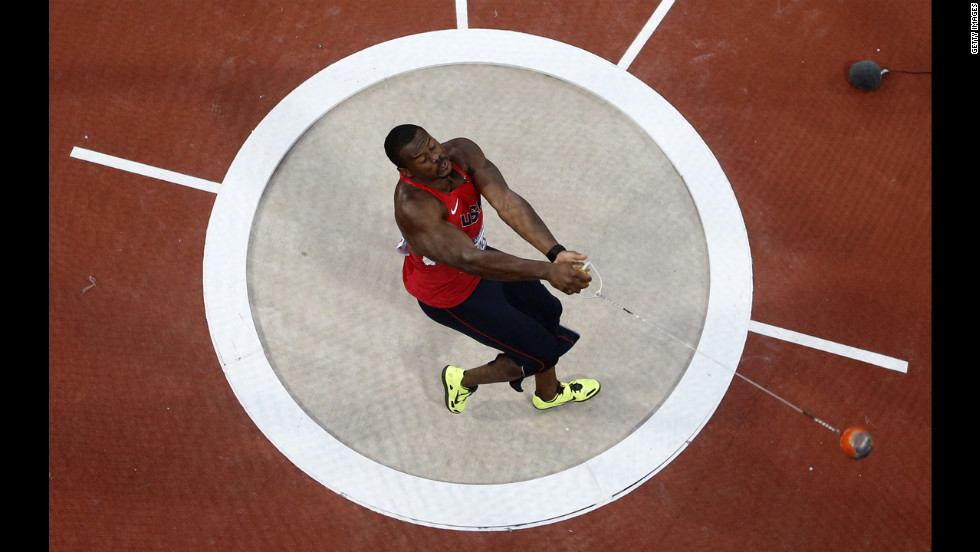 Kibwe Johnson of the United States competes in the men's hammer throw final.