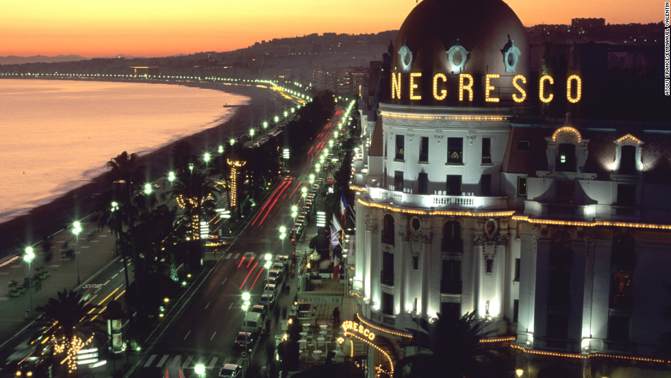 "Nighttime's also the right time to experience Nice. Le Negresco, Nice's ""grande dame"" hotel and a Belle Epoque-era landmark, dominates the Promenade's landscape."