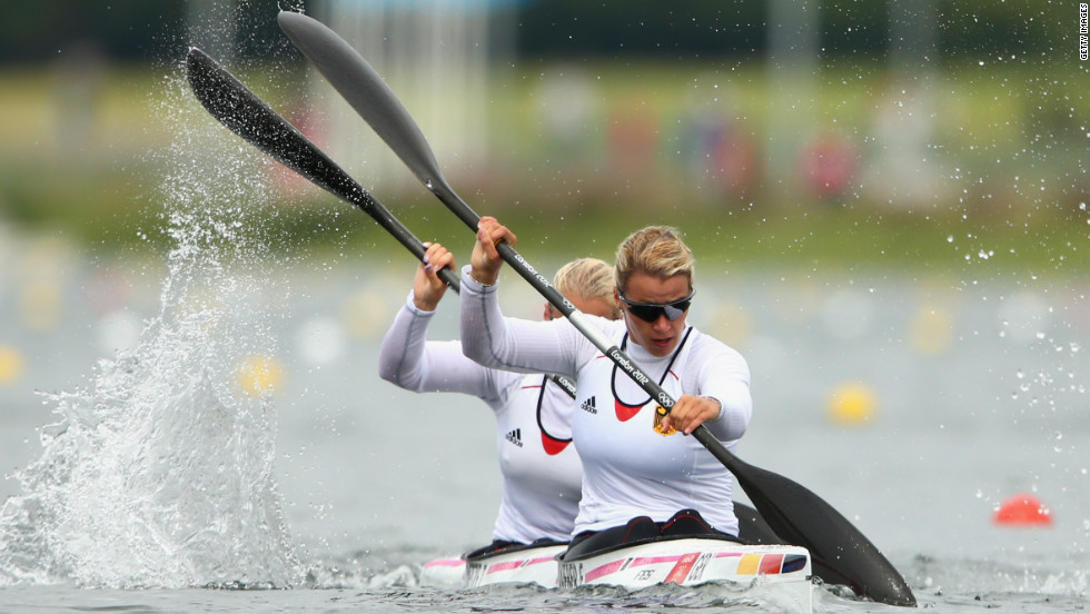 Franziska Weber, front, and Tina Dietze of Germany compete in the women's kayak double 500-meter sprint semifinal in Windsor.