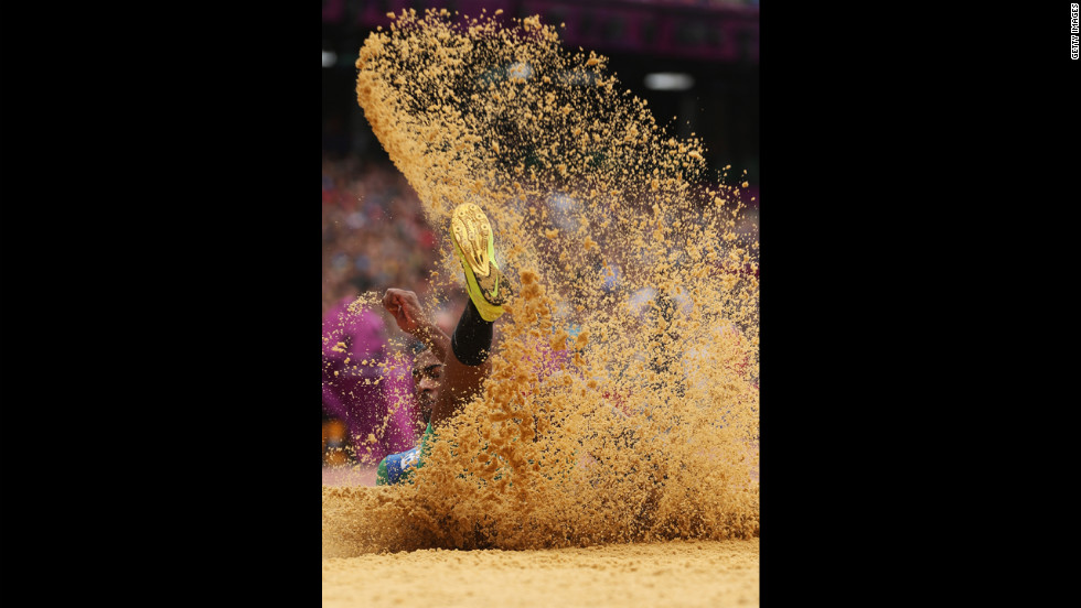 Jonathan Silva of Brazil competes in the men's triple jump qualification.