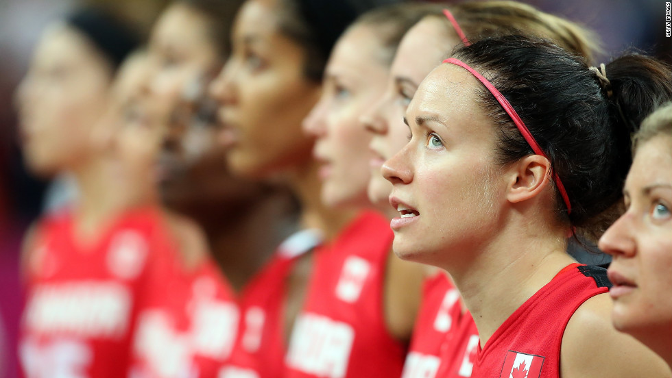 Shona Thorburn of Canada stands for the Canadian National Anthem before the women's basketball quarterfinal against the United States.