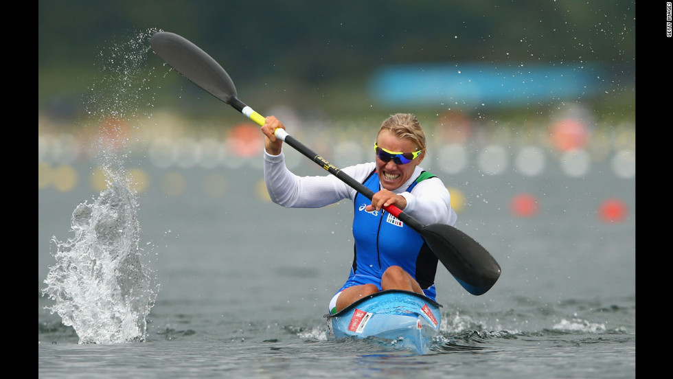 Italian kayaker Josefa Idem races in the women's kayak single 500-meter sprint semifinals.