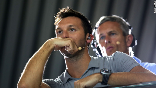 Former Australian Olympic swimmer Ian Thorpe watches swimming at the London 2012 Olympic Games on August 1, 2012.
