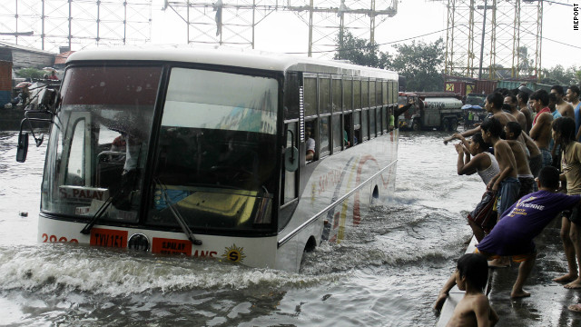 Flooded street in Las Pinas, Metro Manila August 7, 2012.