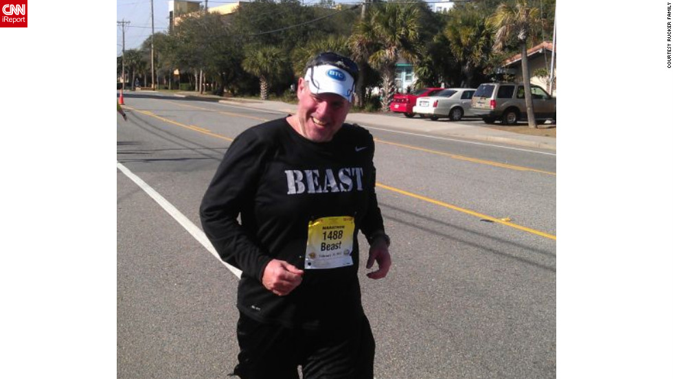 Rucker runs the Myrtle Beach Marathon on February 18 with a time of 6 hours and 13 minutes.