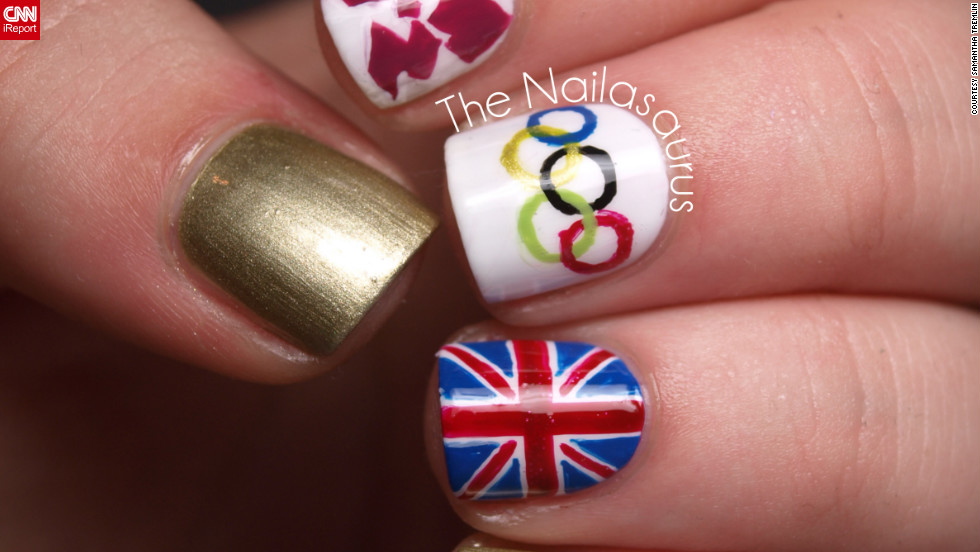 "Samantha Tremlin also wanted to show support for her home country of Great Britain. It took her about an hour to <a href=""http://ireport.cnn.com/docs/DOC-824621"">paint this manicure</a> that features the Olympic rings, Union flag and logo for London 2012. ""It feels as though the Games have united every single person in the country with all the excitement and pride we're feeling. The opening ceremony was just fantastic and made me so proud to be British,"" she said."