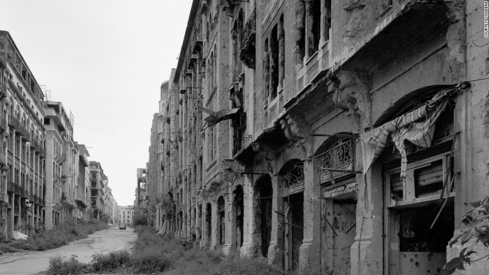 War-torn Beirut as it appeared in the aftermath of the civil war. The Beirut souks, historically the commercial heart of the city, have been rebuilt and now form the city's largest shopping area.