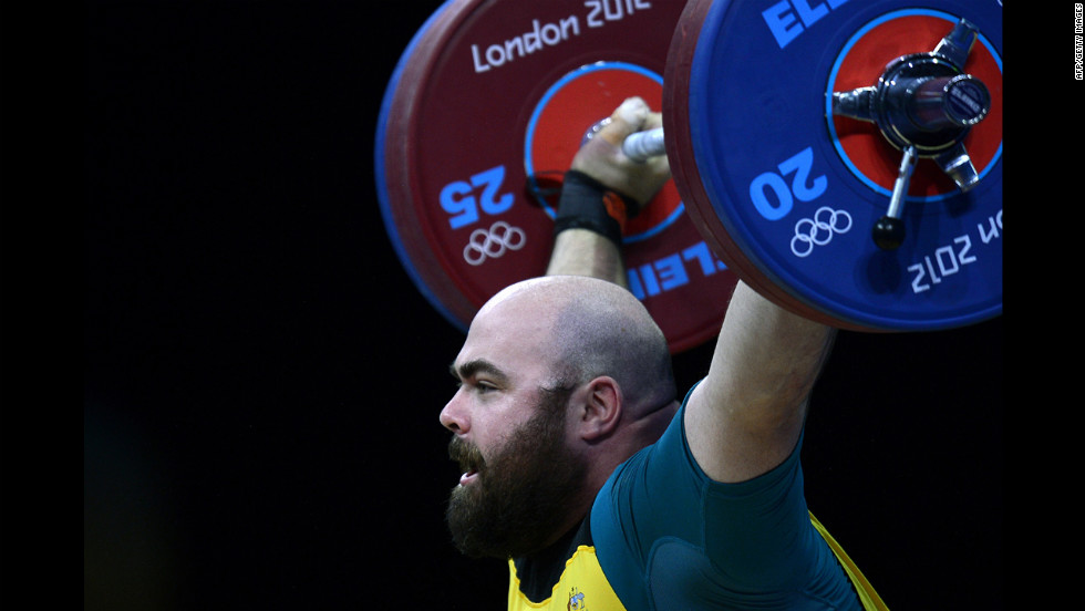 Australia's Damon Kelly competes during the men's +105-kilogram Group B weightlifting event.
