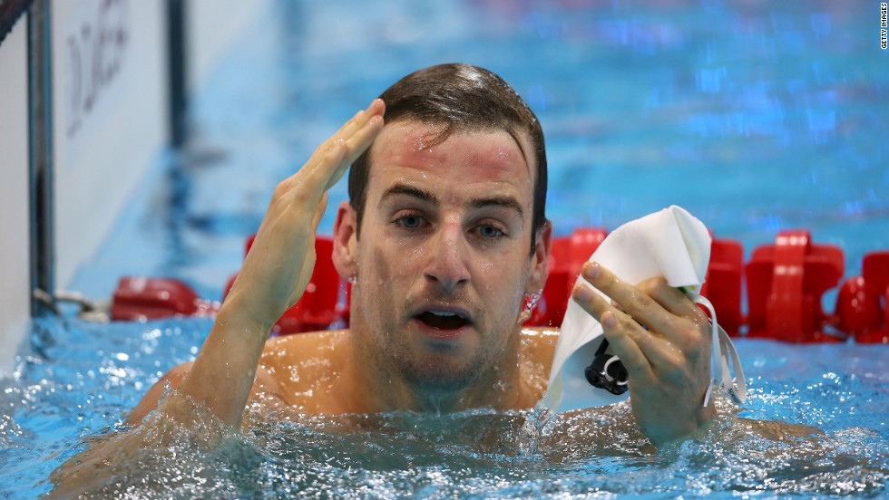 James Magnussen of Australia reacts after competing in the Men's 50m Freestyle heat 7 on August 2.