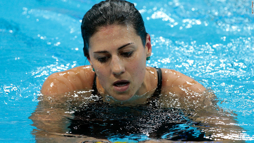 A dejected Stephanie Rice leaves the pool after missing out on the medals in the Women's 200m Individual Medley final on July 31.