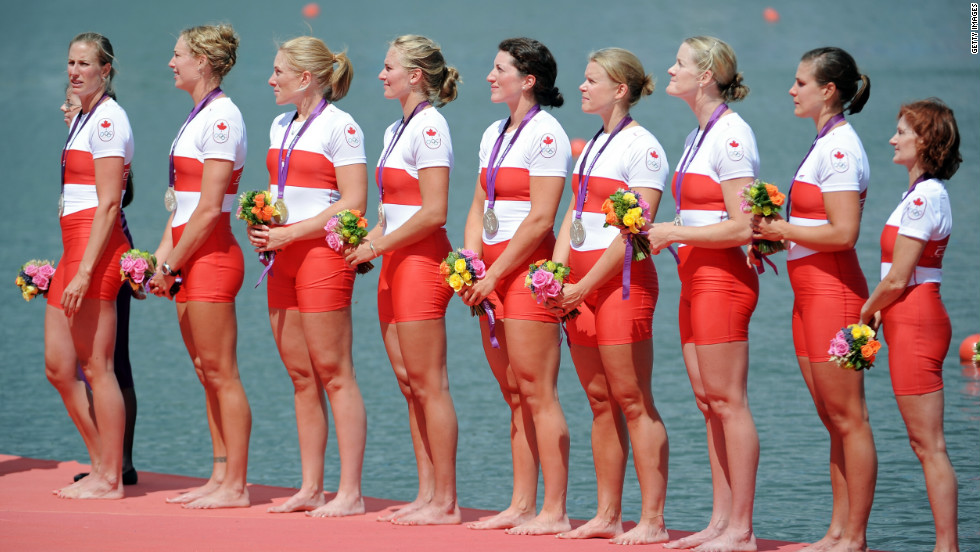 Lesley Thompson-Willie, far right, is the 52-year-old coxswain of Canada's silver-medal-winning women's rowing team.