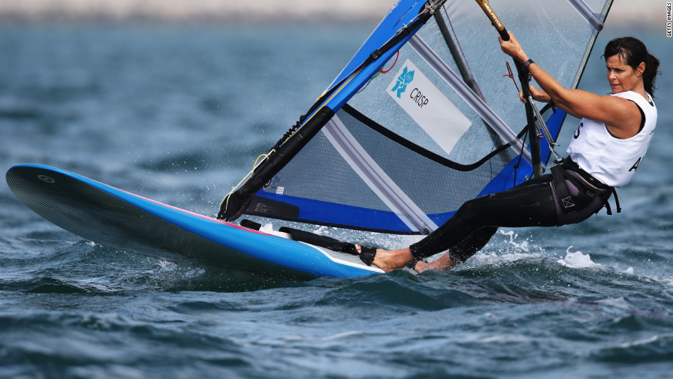 Jessica Crisp, 42, part of Australia's 2012 Olympic wind surfing team, competes in the RS-X  women's sailing event at Weymouth Harbour in Weymouth, England.
