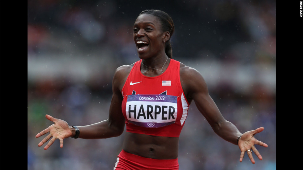 Dawn Harper of the United States competes in the women's 100-meter hurdles semifinals.