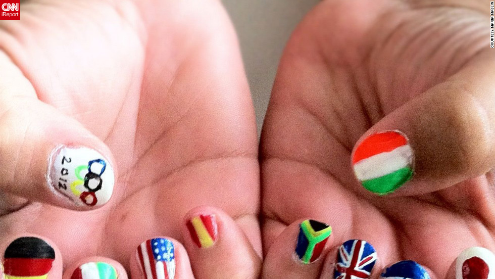 "Maria Maslin painted her mother's nails to <a href=""http://ireport.cnn.com/docs/DOC-825520"">reflect several of the countries</a> competing in the Olympics this year. ""I tried to be diverse with the countries I picked in order to represent a large span of the world,"" she explained. From left, the flags represented are Germany, Italy, United States, Spain, South Africa, Great Britain, Israel and Japan. On her thumbs are the Olympic flag and Ireland."