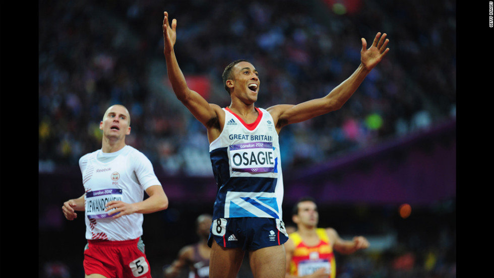 Andrew Osagie of Great Britain competes in the men's 800-meter semifinals.