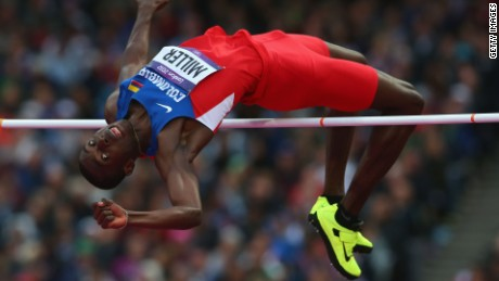 Wanner Miller of Colombia competes in the Men's High Jump Final on Day 11 of the London 2012 Olympic Games at Olympic Stadium on August 7, 2012 in London, England.
