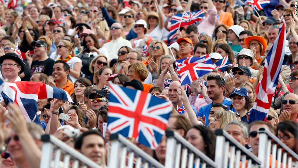 The crowd soaks up the atmosphere on Day 12 of the Olympics at Greenwich Park in London.